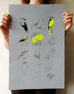 MOCKING BIRDS screen printing : yellow neon on blue/grey paper, limited edition 30 copies (each copy is signed and numbered) on Etsy, $65.71