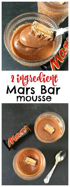 Wow - love this 2 Ingredient Mars Bar Chocolate Mousse Delicious Chocolate Caramel Mousse made with just two ingredients - mars bars and double cream! So simple and incredibly easy (Two Ingredients Mousse) Sweet Like Chocolate, Delicious Chocolate, Chocolate Desserts, Easy Chocolate Mousse, Chocolate Decorations, Pudding Desserts, Easy Desserts, Delicious Desserts, Freezer Desserts
