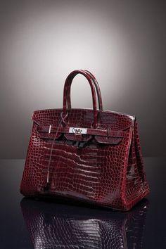 "hermes crocodile shoulder birkin burgundy | Hermès Paris, made in France. Sac ""Birkin"" 35 cm en crocodile porosus ..."