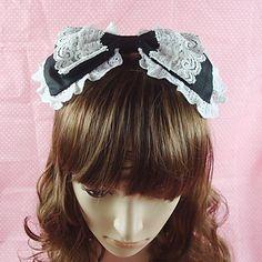 Handmade Nero Cotone White Lace 26 centimetri Bow Paese Lolita caschetto – EUR € 11.54