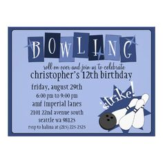 Royal Blue Totally Retro Bowling Birthday Party Custom Announcements