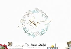 Hand Drawn Style Watercolor Floral Wreath Logo Design