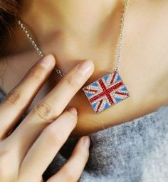 United Kingdom flag necklace   Great Britain flag necklace - $5.49USD