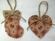 Homespun Pair Of Christmas Ornaments/ Stocking by luvinstitchin4u