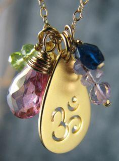 Yoga Jewelry Om Ohm Charm Necklace Gold by ChantressJewelry, $76.00