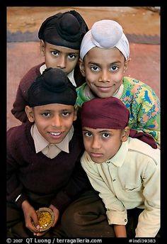 Sikh boys. Bharatpur, Rajasthan, India