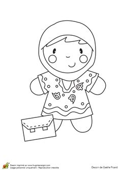 A colorier, une poupée à la cape avec une robe Free Printable Coloring Pages, Free Printables, Creation Art, Illustration, Creations, Children, Fictional Characters, Back To School, Felt Fabric