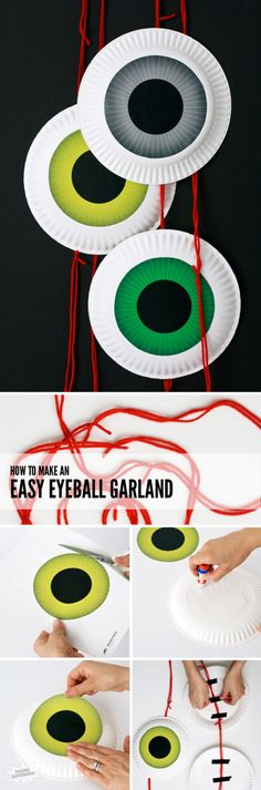 How to Make an EASY Eyeball Door Garland for Halloween at PagingSupermom.com This could also be a fun tossing game for kids! Cut out the black center, have a black cloth behind, hang from ceiling, and have kids toss beanbags or balls thru the middle..