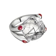 """gemstones in a great faux prong setting: Betteridge: Verdura """"Candy"""" Black Rutilated Quartz Ring with Ruby"""