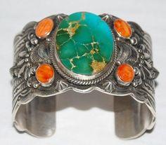 Navajo Darryl Becenti Sterling Silver Royston Turquoise Spiny Shell Bracelet 6 5   eBay $1449.00