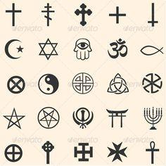 Vector Set of Religious Symbols Vector set of religious symbols: Christianity Islam Orthodoxy Catholicism occultism Buddhism paganism. Simbolos Tattoo, Shiva Tattoo, Symbol Tattoos, Wrist Tattoos, Mini Tattoos, Finger Tattoos, Tattoos For Guys, Sleeve Tattoos, Cherry Tattoos