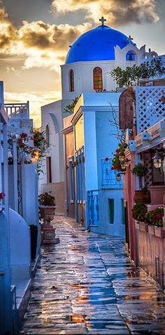 Santorini Island Street View ~ Greece