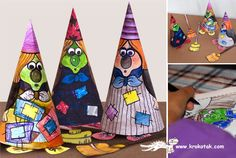 Halloween Special - Color Your Own Witch Paper Doll - by Krokotak - == -  Kids will love these funny Little Witches, to print, cut and color, by Krokotak, an educative Russian website.