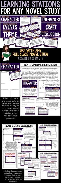 Novel Study Learning Stations for Any Text Move beyond worksheets and chapter questions. Use these stations to help your students be critical readers. Can be used with any full class novel study. 8th Grade Ela, 6th Grade Reading, Middle School Reading, Middle School English, Fourth Grade, Reading Lessons, Reading Skills, Teaching Reading, Math Lessons