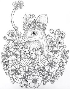 T T mouse family in flower circlr Animal Coloring Pages, Coloring Pages To Print, Coloring Book Pages, Coloring Sheets, Family Coloring Pages, Doodle Coloring, Mandala Coloring, Colorful Drawings, Colorful Pictures