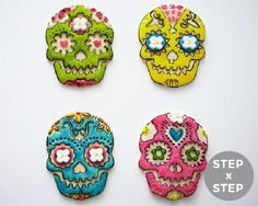 How To Make Easy Day of the Dead Skull Cookies Using a Stamp and Food Coloring | Cakegirls