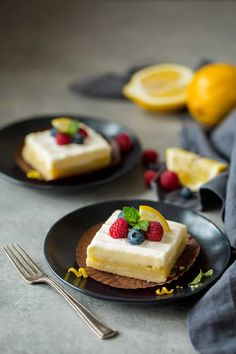 Four layers of utter decadence! Buttery shortbread, zesty tart lemon bar, rich and creamy cheesecake and a sweet sour cream layer. Dessert perfection!