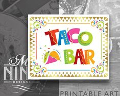 Fiesta Party Sign Printables  TACO BAR Sign Downloads