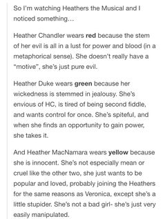 Colors and Heathers the Musical