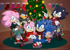 Merry Christmas from the Hedgehog family! (A sort of sequel to [x]) This was the drawing I was working on where I was originally just making filler Shadora kids, but then they stuck! Happy...