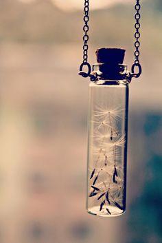 Wish. Dandelion Seeds Handmade Make a Wish Bottle Jar Necklace Bottle Charms, Bottle Necklace, Necklace Chain, Diy Jar Necklace, Bottle Jewelry, Layered Necklace, Resin Jewelry, Pearl Necklace, Make A Wish