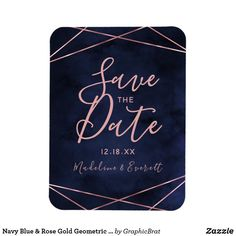 Navy Blue & Rose Gold Geometric Save the Date Magnet Save The Date Invitations, Wedding Invitation Cards, Save The Date Magnets, Save The Date Cards, Modern Wedding Save The Dates, Save The Date Templates, Blue Texture, When I Get Married, Geometric Wedding
