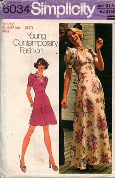 Simplicity 6034 Womens Puff Sleeved Midriff Band Dress or Maxi 70s Vintage Sewing Pattern Size 12 Bust 34 inches UNCUT Factory Folded