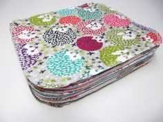 Reusable baby wipes. Made of two layers of flannel can we washed and reused. And they are super cute!