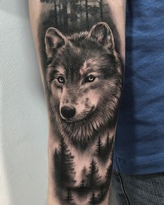 Tatoo - Travel and Extra Wolf Sleeve, Wolf Tattoo Sleeve, Sleeve Tattoos, Tattoo Wolf, Tattoo Art, Trendy Tattoos, Cute Tattoos, Tattoos For Guys, Tatoos
