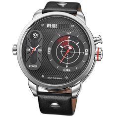 91187d350d64 WEIDE WH3409 Cuarzo Relojes Deportivos de Hombre Leather Men