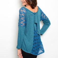 """AMAZING TEAL TOP W LACE DETAIL This top is gorgeous!  The color is so much better in person. Hi-low shape. Love that!!  Made in USA. 95% polyester 5% spandex. Small measures: L27"""" B14"""" W15"""" small - 1 medium - 1 large - 2 Please comment size needed below.  Allow me to make your separate listing for you or help you make a bundle ❤️.  NO PAYPAL NO TRADES. Price is firm unless bundled. Tops"""