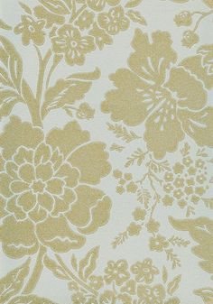 Dauphine Wallpaper Gold on pale duck egg climbing floral wallpaper