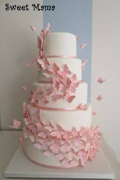 Pink butterflies wedding cake - cake by SweetMamaMilano - Ca.- Pink butterflies wedding cake – cake by SweetMamaMilano – CakesDecor Pink butterflies wedding cake – cake by SweetMamaMilano – CakesDecor - Butterfly Wedding Cake, Butterfly Birthday Cakes, Butterfly Cakes, Pink Butterfly, Wedding Cake Pink, Cake With Butterflies, Butterfly Baby Shower, Flower Cakes, Wedding Cupcakes