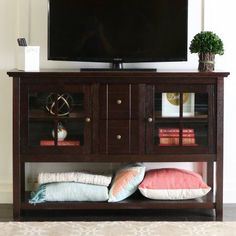Wood Console Table TV Stand for TVs up to 55 inch, Multiple Finishes, Brown