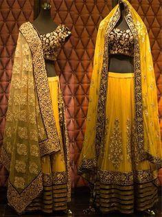 Yellow Gold Lehenga Shyamal and Bhumika