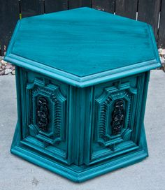 Bold Peacock Teal Side Table/Nightstand by JunqueFurniture on Etsy, $165.00