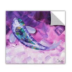 ArtApeelz 'Purple Koi' by Shiela Gosselin Painting Print Removable Wall Decal