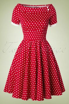 Dolly and Dotty Darlene 50's Red Polkadot Swing Dress
