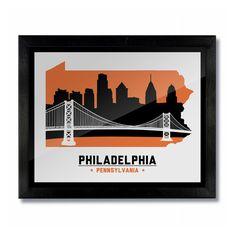 Philadelphia, Pennsylvania Skyline Print: White Hockey