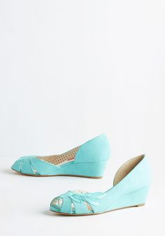 Two Can Play Bliss Game Wedge in Aqua. Team up with these turquoise-blue wedges by Bait Footwear for a look thatll have you smiling from ear to cheer! #blue #modcloth