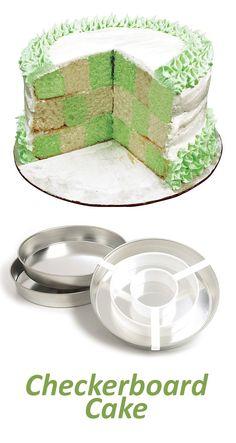 Checkerboard Cake Pan Set @scrapwedo Kitchen Stuff, Kitchen Gadgets, Checkerboard Cake, Cake Calories, Vintage Cakes, Small Cake, Pan Set, Baking Tools, Decorating Tools