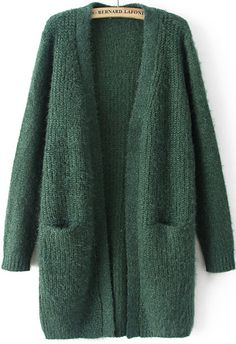 Green Long Sleeve Pockets Knit Cardigan 31.00