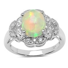 1.95 Carat Genuine Ethiopian Opal & White Cubic Zirconia .925 Sterling Silver Ring