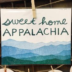 Sweet Home Appalachia is a reduction print. Starting with an 8x10 linoleum block, I first carved away the sky around the letters and highest mountain