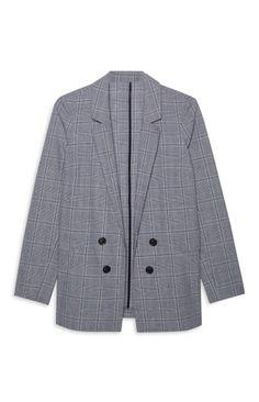 Checked Blazer, Primark, Blazer Jacket, Grey, Coat, Polyvore, Jackets, Women, Fashion