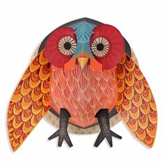 Pop Up: Owl  Create uniquely beautiful wall art in three easy steps with the Djeco Pop Up. It's made entirely of sturdy paper that opens like a book and expands into a stunning 3D decoration that can be hung on your children's bedroom walls. Made in France.