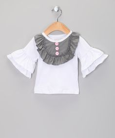 Take a look at this White & Gray Ruffle Bell-Sleeve Top - Infant, Toddler & Girls by Pixie Dust Pretties on #zulily today!