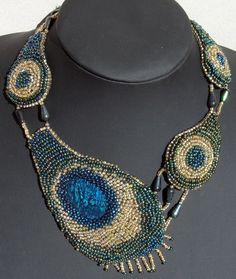 Embroidered peacock feathers necklace with by Gemsplusleather, $169.00