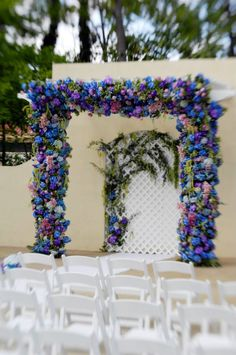 Here is a close-up of the floral trellis.  This added so much color to an otherwise plain background. Atlantaweddingplanner.net