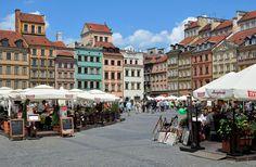 Rynek Starego Miasta, ogródki, lato